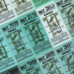 朝凪チケット日付シート 2019年5月版