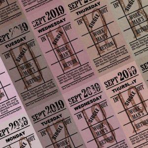 朝凪チケット日付シート 2019年9月版