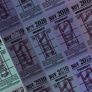 朝凪チケット日付シート 2019年11月版