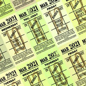 朝凪チケット日付シート 2021年3月版