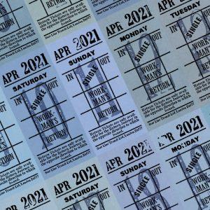 朝凪チケット日付シート 2021年4月版