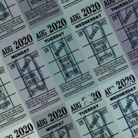 朝凪チケット日付シート 2020年8月版