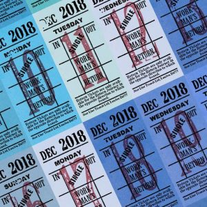 Ticket style date-sheet, December 2018