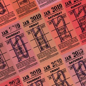 Ticket style date-sheet, January 2019