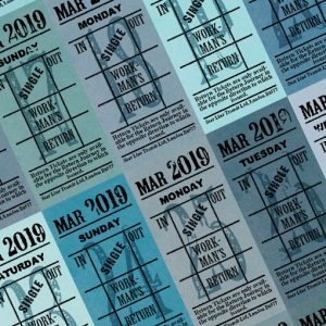 Ticket style date-sheet, March 2019