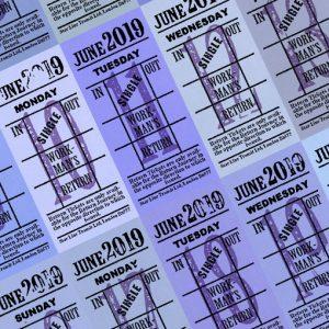 Ticket style date-sheet, June 2019