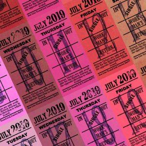 Ticket style date-sheet, July 2019