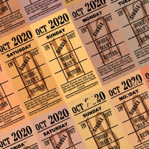 Ticket style date-sheet, October 2020