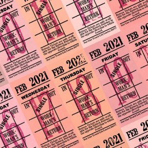 Ticket style date-sheet, February 2021