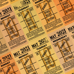 Ticket style date-sheet, May 2021