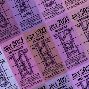 Ticket style date-sheet, July 2021