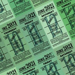 Ticket style date-sheet, June 2021