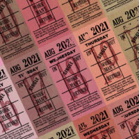 Ticket style date-sheet, August 2021