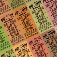 Ticket style date-sheet, August 2019